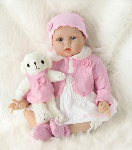 ZIYIUI 55cm Realistica Bambole Reborn Femmina Toddler Baby Dolls Silicone Bambolotti Ragazza Bambola Reborn - Indossa Un Cappotto Rosa e Tiene Un Orsacchiotto Rosa