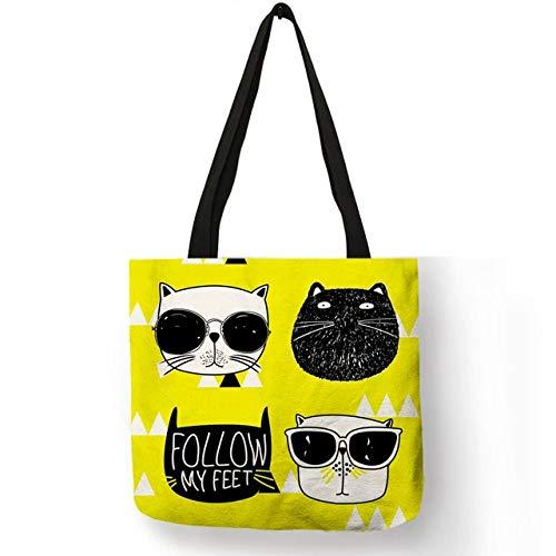 XLJJB Bolso De Hombro De Pintura De Dibujos Animados Lindo Cara Gorda con Gafas De Sol Cool Cat Totes Eco Linen Portátil Casual Shopping School Bags 005