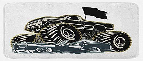 HARXISE Tappeto Antiscivolo,Monster Truck, Auto per Pneumatici in Gomma Che appiattisce un'immagine Grafica di Un Veicolo Vintage, Grigio Carbone Grigio Cocco,da Usare Come zerbino o per Soggiorno