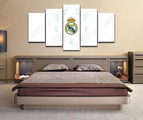 YUANJUN 3D Leinwanddrucke,Modulare Wandkunst Wandaufkleber,5 Teiliges Wandbild,Mit Rahmen,Größe 150 X 80 cm Leinwandbild, Wandbilder XXL Real Madrid Trophy Club Poster 5 Stück Leinwand