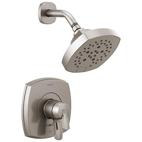 DELTA Stryke 17 Series Dual-Function Shower Faucet, Shower Trim Kit, Single-Spray H2Okinetic Shower Head, Stainless T17276-SS (Valve Not Included)