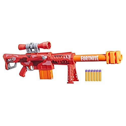 NERF Fortnite Heavy SR Blaster, Longest Fortnite Blaster Ever, Removable Scope, Bolt Action, 6 Official Mega Darts, 6-Dart Clip
