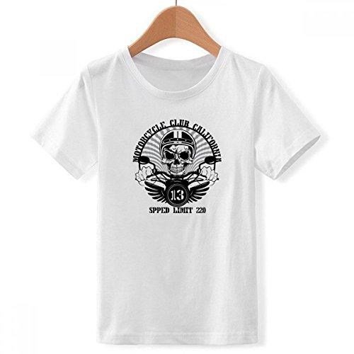 DIYthinker Motocicleta Indio flatotem Esqueleto tripulación Cuello Camiseta para Chico Multicolor XXX-Grande
