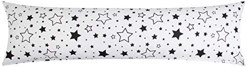 Heubergshop Baumwoll Renforcé Seitenschläferkissen Bezug 40x200cm - RV Lange Seite - Große und kleine Sterne in schwarz - 100% Baumwolle Stillkissenbezug (KY-376-9-XXL)