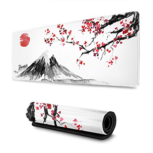 Japan Ink Painting Fuji Mountain Sakura Sun Gaming Mouse Pad XL, Extended Large Mouse Mat Desk Pad, Stitched Edges Mousepad, Long Non-Slip Rubber Base Mice Pad, 31.5 X 11.8 Inch