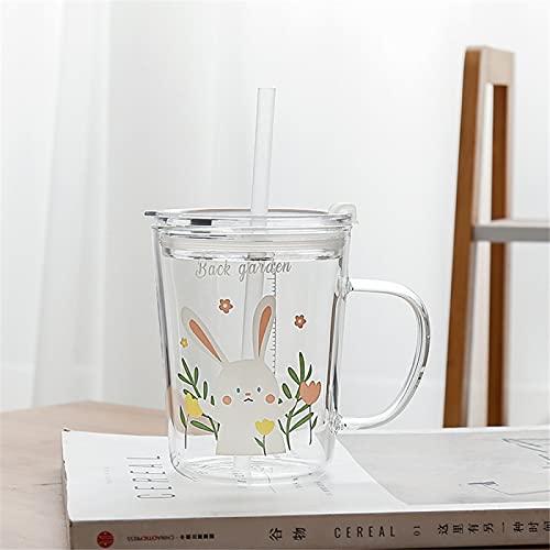 RZHIXR Taza De Agua De Vidrio Resistente Al Calor, Taza De Leche para El Desayuno para Niños con Taza De Paja Graduada, Taza De Café Multifuncional Sellada 450ml