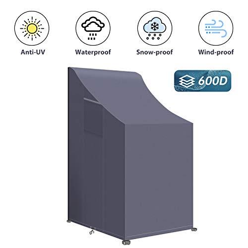 PATIO PLUS Funda para silla de jardín, tela Oxford 600D, impermeable, funda protectora para muebles de jardín al aire libre, antidecoloración, 66 x 66 x 80/120 cm (largo x ancho x alto), gris oscuro