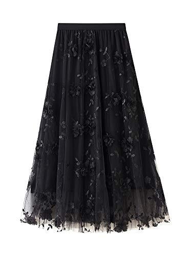 Dazzerake Falda Larga de Tul Elegante para Mujer Falda Longuette Cintura Alta Casual con Bordado Floral 3D Color Sólido Falda Midi Diseño de Moda (Negro, Talla Única)