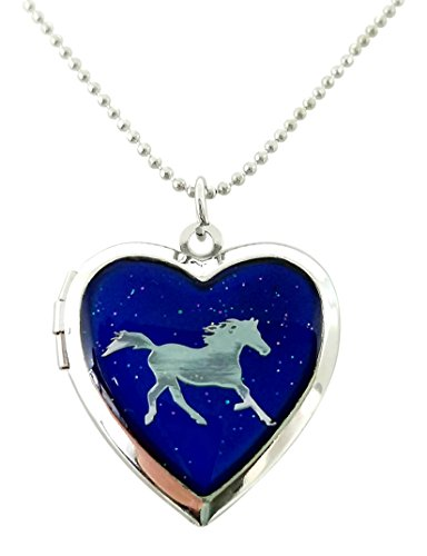 Cool Jewels Running Horse on Mood Heart Shaped Locket Pendant Necklace, 16 to 18 Inches