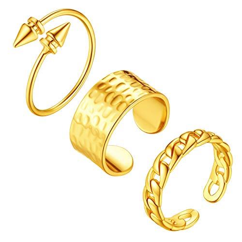 FindChic - Set di 3 anelli da polsino alla moda, Resizable, colore: Design B., cod. 3FIR23286K-EUF