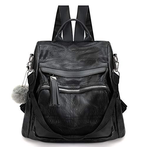 COOFIT Rucksack Damen Schwarz Leder Rucksack und Schultertasche Handtasche Wasserdichter Rucksack Lässig Rucksack Diebstahlsicherer Rucksack Frauen Tasche Schulranzen