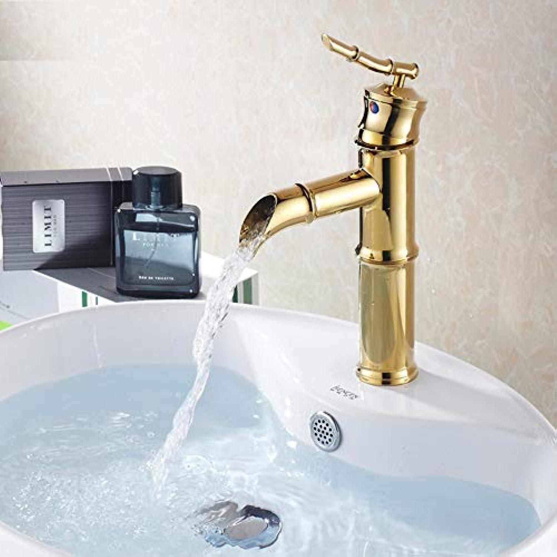 JONTON Europische Gold Wasserhahn Kupfer Bad waschbecken waschbecken Wasserhahn hei und kalt Bambus Bambus waschbecken Wasserhahn
