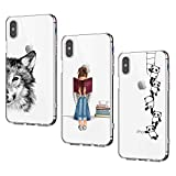 Oihxse [3 Pack Funda Compatible con iPhone X/iPhone XS Ultra Delgada Transparente Silicona TPU Suave Carcasa Elegante Patrón Lindo Bumper Anti-Rasguño Protector Teléfono Caso (15)