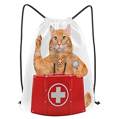 fudin Unisex Wasserdicht Kordelzug Rucksack Erste-Hilfe-Set für Katzen Turnbeutel Sporttasche für Yoga Freien Schule Strand Schwimmen