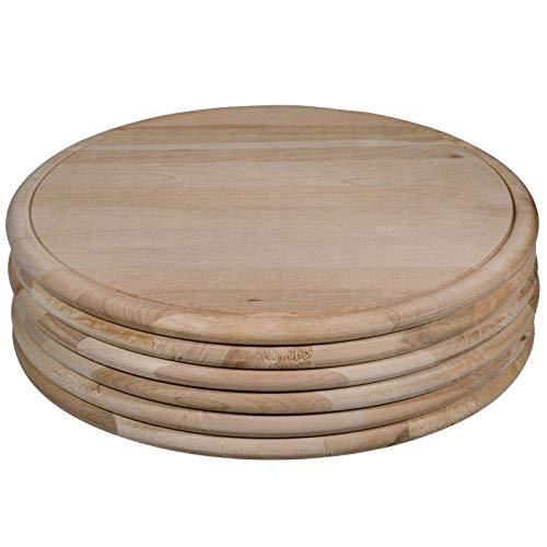Sidco, 6 piatti da prosciutto, in legno, per carne, rotondo, Ø 28 cm