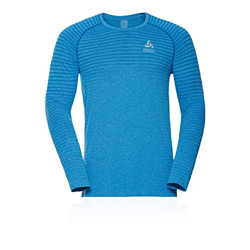 Odlo T-Shirt l/s Crew Neck Seamless Element Camiseta, Hombre, Gris Claro, Medium