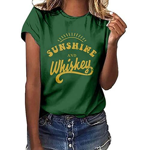 Floweworld Damen Casual T-Shirt Brief Drucken Solide Tops Plus Größe Lose Tees Shirt Sommer Kurzarm Oansatz Blusen