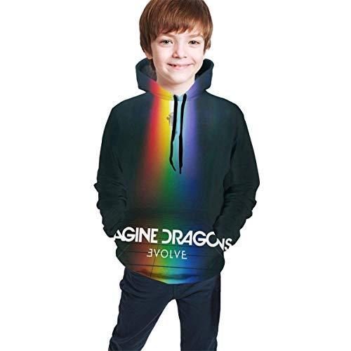 Hdadwy Imagine The Dragons Evolve Boys Girls Youth Felpa con Cappuccio a Maniche Lunghe con Cappuccio