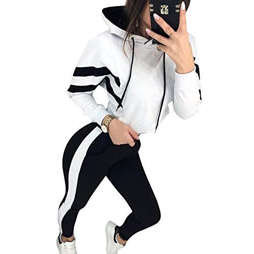 Vertvie Damen 2 Teilig Sportanzug Traingsanzug Patchwork Lange Ärmel Jogginganzug Freizeitanzug Sportswear mit Langhosen Sport Yoga Outfit