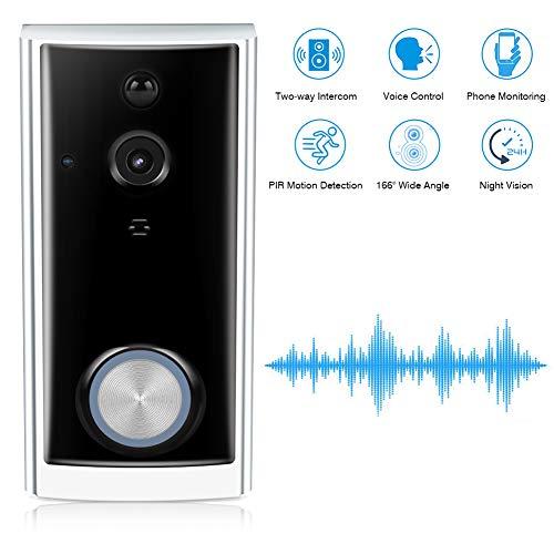 Wireless Video Türklingel, Smart 720P HD Überwachungskamera Intercom mit 166 Grad Betrachtungswinkel, Zwei Wege Echtzeit Audio, PIR Bewegungserkennung, Nachtsicht, Arbeit mit Alexa Echo