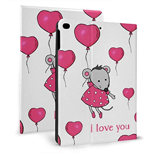 Girl Ipad Case Cute Mouse Hold Ballons Waterproof Ipad Case For Ipad Mini 4/mini 5/2018 6th/2017 5th/air/air 2 With Auto Wake/sleep Magnetic Unique Ipad Covers
