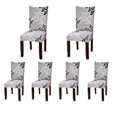 SoulFeel 6 x Soft Spandex Fit Stretch Short Dining Room Chair Covers with Printed Pattern, Banq…
