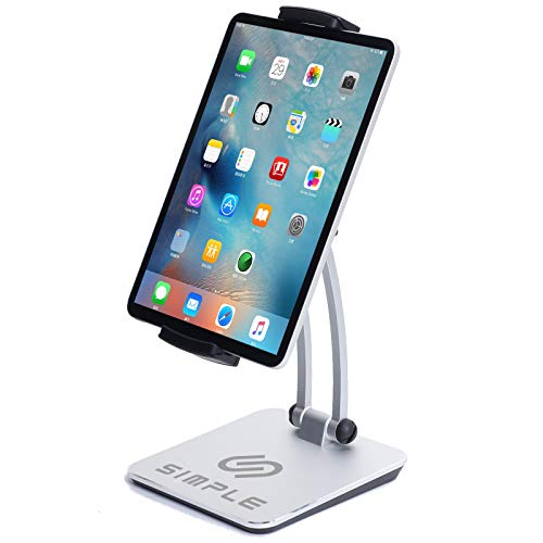 HkSimple Innovative Tablet Stand - Adjustable iPad Stand with Extendable Clamp - Ergonomic Tablet Stands and Holders - Portable Holder for Tablets, Smartphones - Convenient iPad Pro, iPad Mini Stands