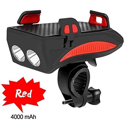 Bcamelys Fahrrad-Led-Licht Mountainbike Leuchte,Mit Handyhalter USB-Ladeanschluss 4000Mah,Mit Lautsprecher,Wasserdicht,StoßFest,400Lumen,Für das 4'' bis 6,3''-Mobiltelefon,Rot