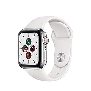 Apple Watch Series 5(GPS + Cellularモデル)- 40mmステンレススチールケースとホワイトスポーツバンド - S/M & M/L