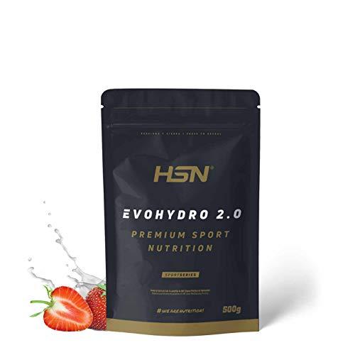 Proteína Hidrolizada de Suero de HSN Evohydro 2.0 (Hydro Whey) | Rica en BCAAs y Glutamina + Recuperador Muscular + Ganar Músculo | Vegetariana, Sin Gluten, Sin Lactosa, Sabor Fresa, 500g