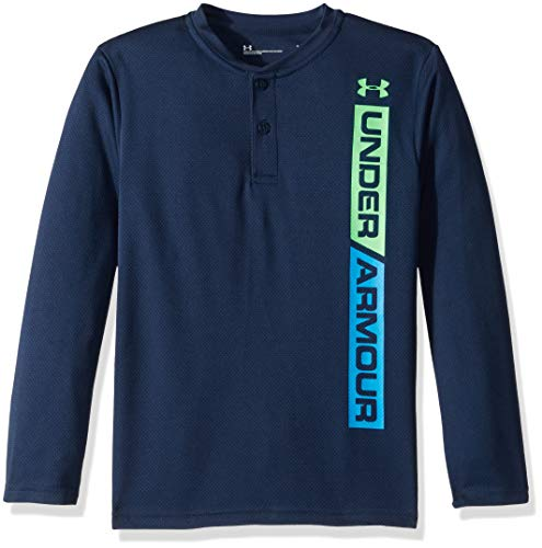 Under Armour Boys' Toddler Long Sleeve Henley Tee Shirt, Ringer Academy, 2T Blue Kids Ringer T-shirt