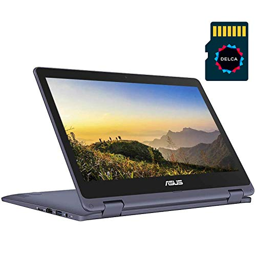 ASUS VivoBook Flip 2020 Premium Thin and Light 2-in-1 Laptop I 11.6' HD Touchscreen I Intel Core Celeron N3350 I 4GB RAM 64GBeMMC I Office 365 Win 10 + Delca 16GB Micro SD Card