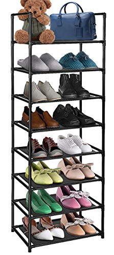 Been5le 8-Tier Shoe Rack Storage Organizer, Sturdy and Durable Shoes Shelf Stores up to 16 Pairs (Black)