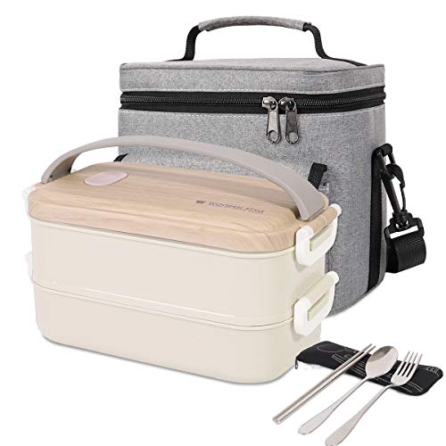 Newox Bento Box, Lunchbox Kinder, Brotdose Kinder, Lunchbox mit isoliertem Lunchtasche, Gabel und Löffel für Kinder Schulkinder Arbeits- und Erwachsenenbüro…