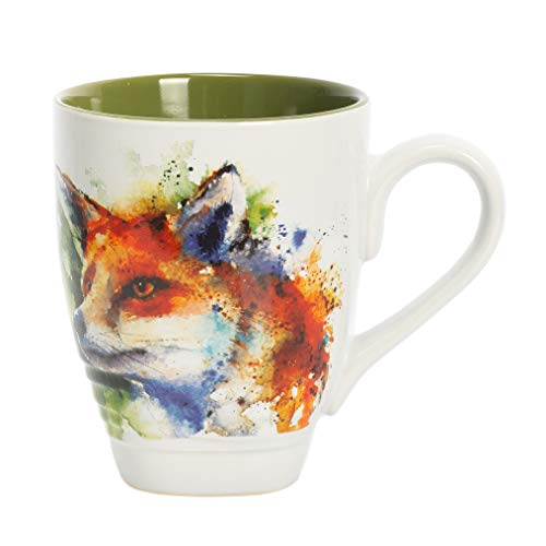 DEMDACO Fox Watercolor Green On White 12 Ounce Glossy Stoneware Mug With Handle