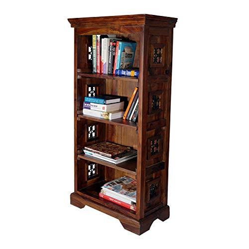 Fab Furnish Jali Bücherregal, handgefertigt, aus massivem Holz, 4 Etagen, stehend, großes Regal für Wohnzimmer, DVD-Blu-Ray-Medien, in zwei Größen, 4 Tier Book Shelves