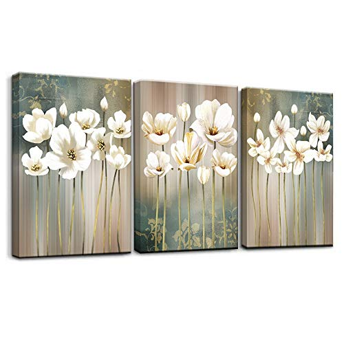 Modern Style White Flower 3 Piece Giclee Canvas Prints Wall Decor Artwork Pictures Painting on Canvas Wall Art for Bedroom Living Room Bathroom Office Home Decorations Gift