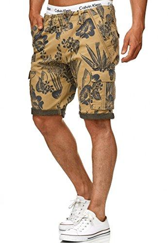 Indicode Herren Albert Cargo Shorts Hawaii mit 6 Taschen aus 100% Baumwolle   Kurze Hose Regular Fit Bermuda Cargoshorts Herrenshorts Short Men Pants Cargohose kurz für Männer Cornstalk L