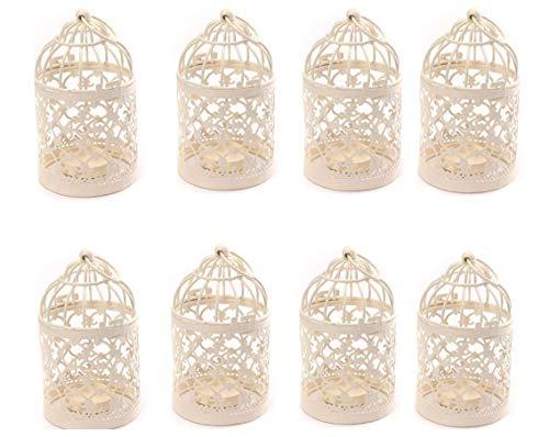 Yonger Metal Tealight Hollow Candle Holder Hanging Lanterns Creative Home Centerpiece Bridal Wedding Xmas Party Decor Birdcage White( 3.1x 5.6Inch ) ,10pcs