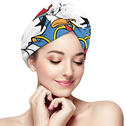 Hair Towel Wraps For Women Girl, Donald Duck Microfiber Salon Towel, Anti Frizz Fast Dry Bath Loop Fasten Salon Dry Hair Hat Turban Twist