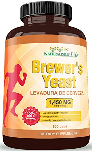 Brewers Yeast Capsules Levadura de Cerveza 1450mg per Serving High Absorption Pure 100 Capsules
