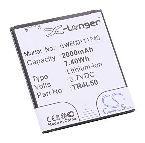 vhbw Li-Ion batería 2000mAh (3.7V) para teléfono móvil Smartphone Kazam Trooper 450L por TR4L50, TR4L50-CBCMB10001885.