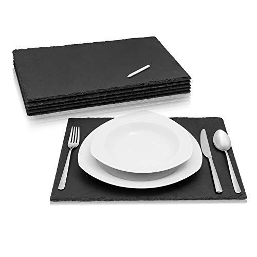 Amazy Schieferplatten Set (6 Stück) inkl. Kreidestift zum Beschriften – Dekorative Servierplatten aus naturbelassenem Schiefer für das geschmackvolle Anrichten von Speisen und Gedeck (40 x 30 cm)