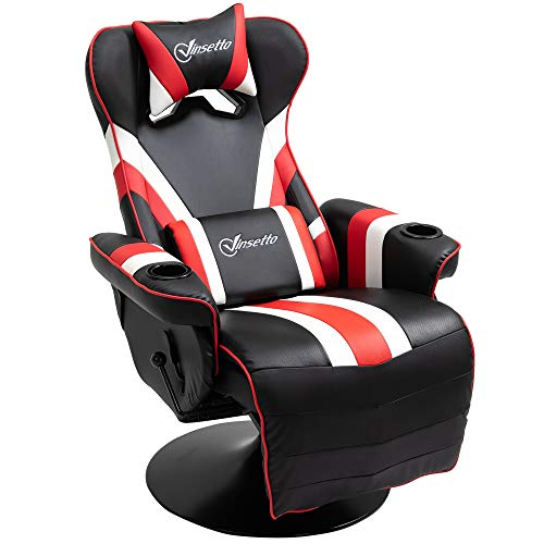 Vinsetto Race Video Game Chair with Reclining Backrest and Footrest, Headrest, and Cup Holder, Black/White/Red