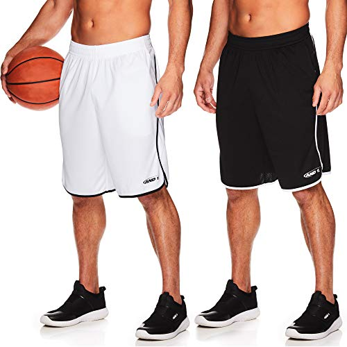AND1 Men's Basketball Gym Fitness & Running Shorts with Elastic Waistband & Pockets - Black/Stark White - 2 Pack, Large