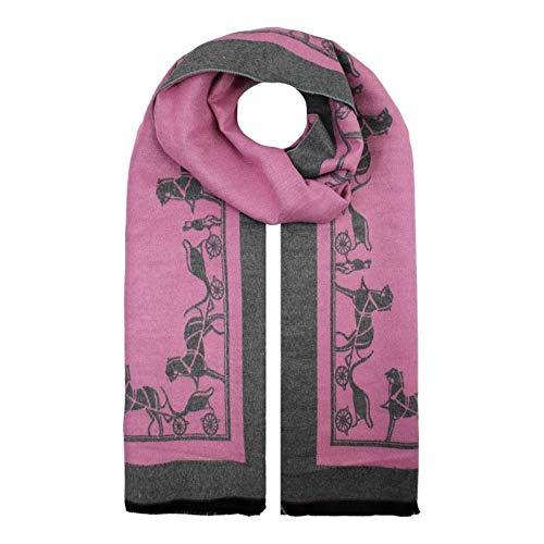 Bufanda de invierno para mujer, cálida, suave, diseño de carruaje de caballo, para mujer