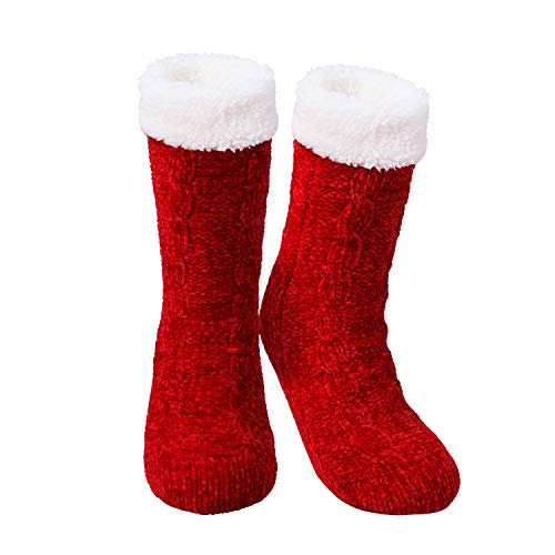 TAGVO Verdicken Sie Fuzzy Chenille Slipper Socken,Winter Fluffy Warm rutschfeste Socken, Lounge Bed Chunky Knitted Fleece-gefütterte Socken,Helle Farben erhellen Ihren Winter,Eine Größe für Frauen