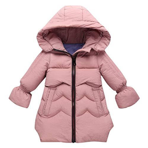 Sensail Vêtements pour Enfants Veste en Coton de Couleur Unie à Manches Longues en Coton Girl bébé Fille Automne Long Manteau en Cuir épais Veste à Capuchon Hiver Veste Chaude en Duvet