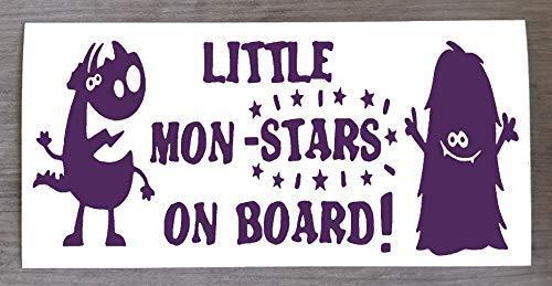Sticker Monster on Board Little Mon - Star on Board - Sticker amusant Baby on Board - 9 cm x 20 cm - HSS012, Vinyle, violet, Two Mon-Stars