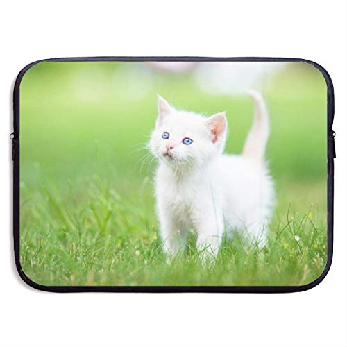 Waterproof Laptop Sleeve 15″, White Cat Print Business Briefcase Sleeve Bag, Computer Case Cover Notebook
